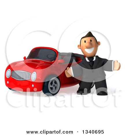 Clipart of a 3d Happy Short White Businessman Welcoming by a Red Convertible Car - Royalty Free Illustration by Julos
