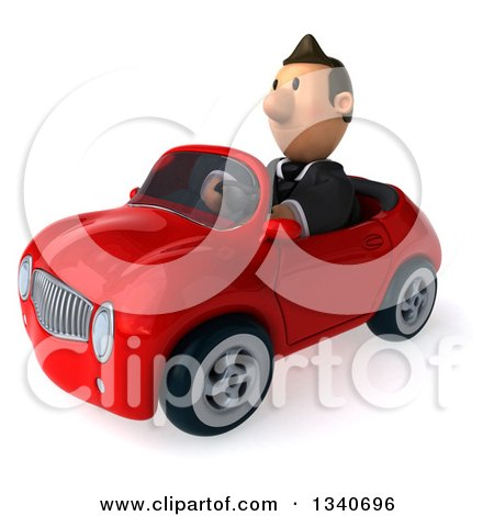 Clipart of a 3d Happy Short White Businessman Driving a Red Convertible Car - Royalty Free Illustration by Julos