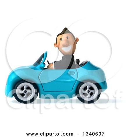 Clipart of a 3d Happy Short White Businessman Driving a Blue Convertible Car - Royalty Free Illustration by Julos
