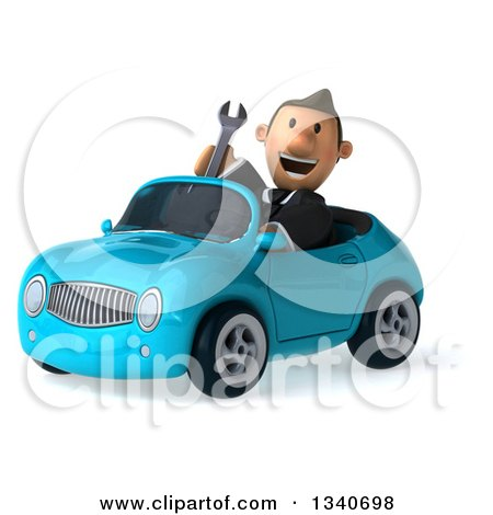 Clipart of a 3d Happy Short White Businessman Holding a Wrench and Driving a Blue Convertible Car - Royalty Free Illustration by Julos