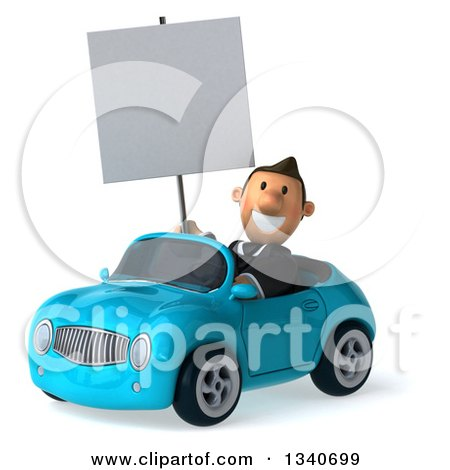 Clipart of a 3d Happy Short White Businessman Holding a Blank Sign and Driving a Blue Convertible Car - Royalty Free Illustration by Julos