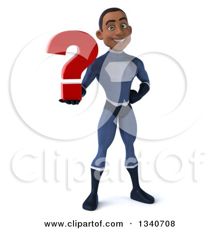 Clipart of a 3d Young Black Male Super Hero Dark Blue Suit, Holding a Question Mark - Royalty Free Illustration by Julos