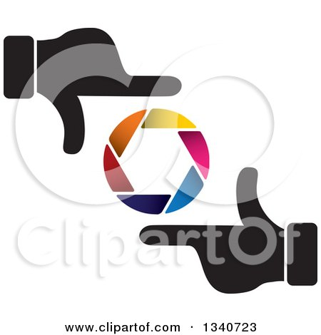Clipart of a Pair of Hands Making a Frame Around a Colorful Shutter Camera Lens - Royalty Free Vector Illustration by ColorMagic
