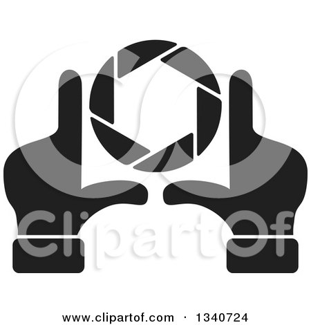 Clipart of a Pair of Black and White Hands Making a Frame Around a Colorful Shutter Camera Lens - Royalty Free Vector Illustration by ColorMagic