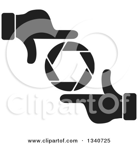 Clipart of a Pair of Black and White Hands Making a Frame Around a Colorful Shutter Camera Lens 2 - Royalty Free Vector Illustration by ColorMagic