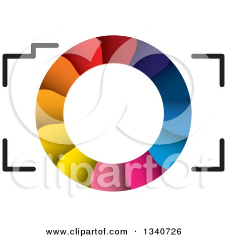 Clipart of a Camera with a Colorful Shutter Lens - Royalty Free Vector Illustration by ColorMagic