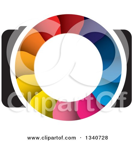 Clipart of a Camera with a Colorful Shutter Lens 3 - Royalty Free Vector Illustration by ColorMagic