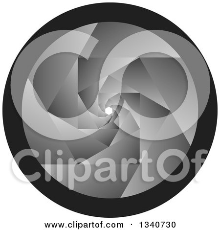 Clipart of a Grayscale Camera Shutter Lens - Royalty Free Vector Illustration by ColorMagic