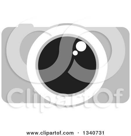 Clipart of a Grayscale Camera with a Shiny Lens - Royalty Free Vector Illustration by ColorMagic