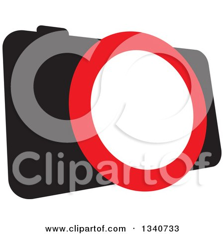 Clipart of a Black Camera with a Red and White Lens - Royalty Free Vector Illustration by ColorMagic