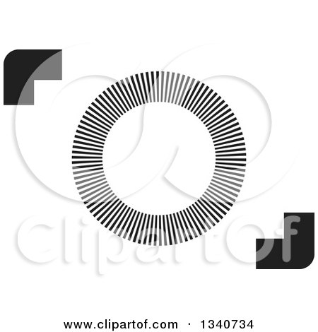 Clipart of a Black and White Abstract Camera - Royalty Free Vector Illustration by ColorMagic