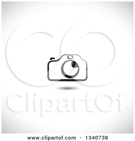 Clipart of a Black and White Camera over Shading - Royalty Free Vector Illustration by ColorMagic