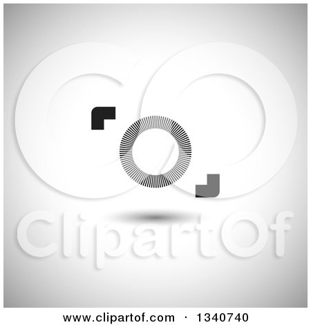 Clipart of a Black and White Abstract Camera over Shading - Royalty Free Vector Illustration by ColorMagic