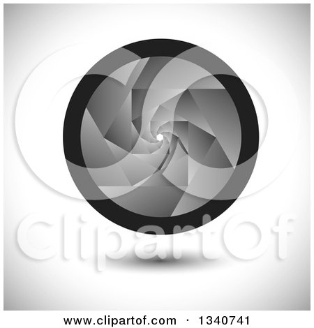 Clipart of a Floating Grayscale Camera Shutter Lens over Shading - Royalty Free Vector Illustration by ColorMagic