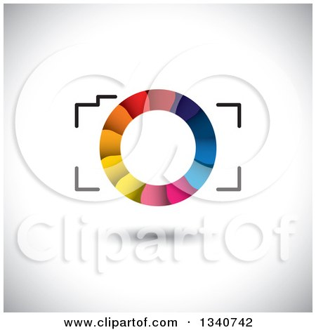 Clipart of a Floating Camera with a Colorful Shutter Lens on Shading - Royalty Free Vector Illustration by ColorMagic