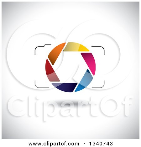 Clipart of a Floating Camera with a Colorful Shutter Lens on Shading 2 - Royalty Free Vector Illustration by ColorMagic
