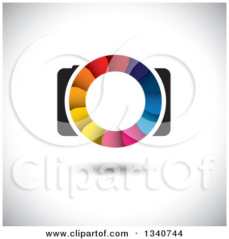 Clipart of a Floating Camera with a Colorful Shutter Lens on Shading 3 - Royalty Free Vector Illustration by ColorMagic