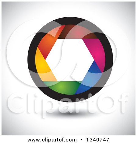 Clipart of a Colorful Camera Shutter Lens over Shading - Royalty Free Vector Illustration by ColorMagic