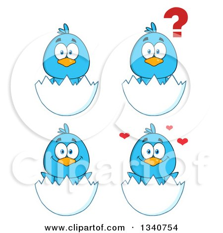 Clipart of Cartoon Blue Birds in Egg Shells - Royalty Free Vector Illustration by Hit Toon