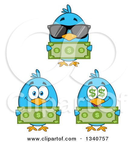 Clipart of Cartoon Blue Birds Holding Cash Money - Royalty Free Vector Illustration by Hit Toon