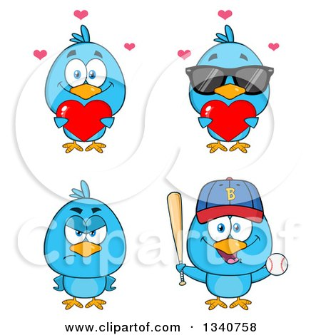 Clipart of Cartoon Blue Birds 2 - Royalty Free Vector Illustration by Hit Toon