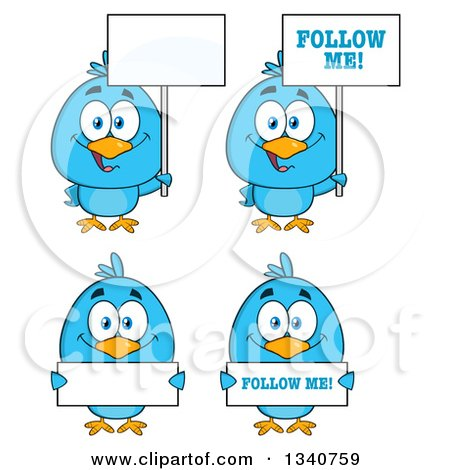 Clipart of Cartoon Blue Birds Holding Signs - Royalty Free Vector Illustration by Hit Toon