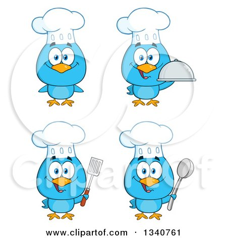 Clipart of Cartoon Blue Bird Chefs - Royalty Free Vector Illustration by Hit Toon