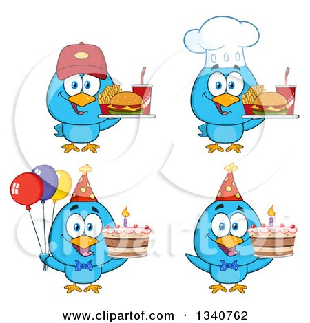 Clipart of Cartoon Blue Birds Holding Fast Foods and Cakes - Royalty Free Vector Illustration by Hit Toon