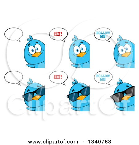 Clipart of Cartoon Blue Birds Looking Around Signs and Talking - Royalty Free Vector Illustration by Hit Toon