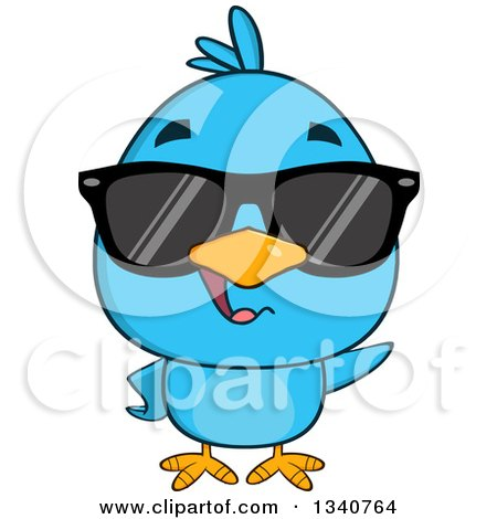 Clipart of a Cartoon Blue Bird Wearing Sunglasses and Waving - Royalty Free Vector Illustration by Hit Toon
