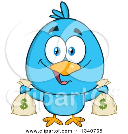 Clipart of a Cartoon Blue Bird Holding Money Bags - Royalty Free Vector Illustration by Hit Toon
