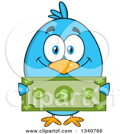 Clipart of a Cartoon Blue Bird Holding a Dollar Bill - Royalty Free Vector Illustration by Hit Toon