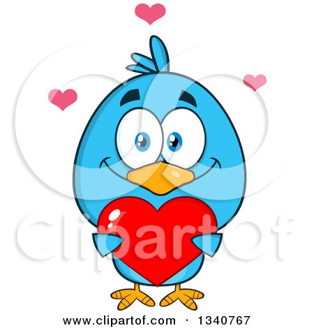 Clipart of a Cartoon Blue Bird Holding a Red Love Heart - Royalty Free Vector Illustration by Hit Toon