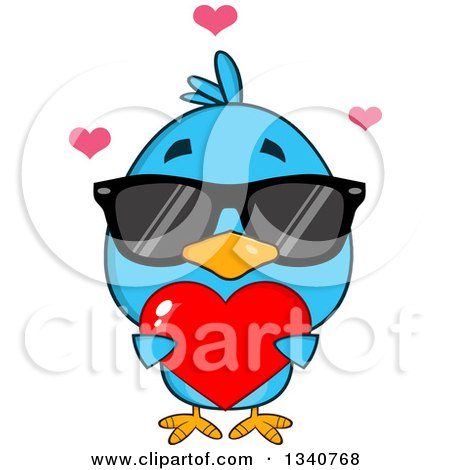 Clipart of a Cartoon Blue Bird Wearing Sunglasses and Holding a Red Love Heart - Royalty Free Vector Illustration by Hit Toon
