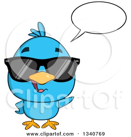 Clipart of a Cartoon Blue Bird Wearing Sunglasses, Talking and Waving - Royalty Free Vector Illustration by Hit Toon