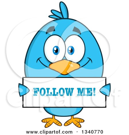Clipart of a Cartoon Blue Bird Holding a Follow Me Sign - Royalty Free Vector Illustration by Hit Toon