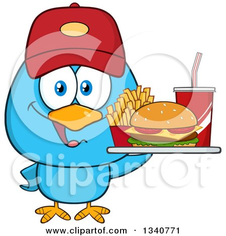 Clipart of a Cartoon Blue Bird Wearing a Baseball Cap and Holding a Fast Food Tray - Royalty Free Vector Illustration by Hit Toon