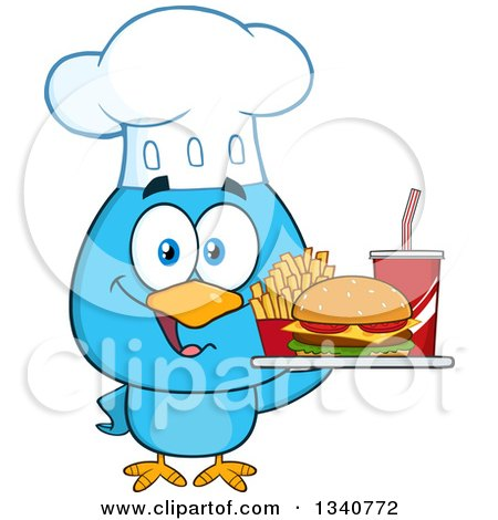 Clipart of a Cartoon Blue Bird Chef Holding a Fast Food Tray - Royalty Free Vector Illustration by Hit Toon