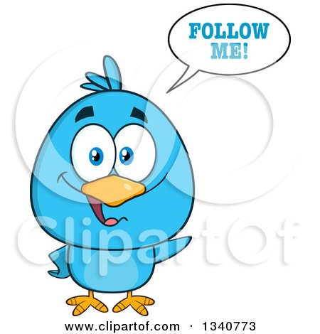Clipart of a Cartoon Blue Bird Saying Follow Me - Royalty Free Vector Illustration by Hit Toon