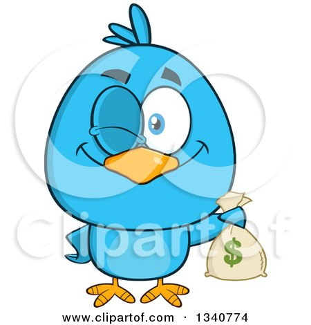 Clipart of a Cartoon Blue Bird Winking and Holding a Money Bag - Royalty Free Vector Illustration by Hit Toon
