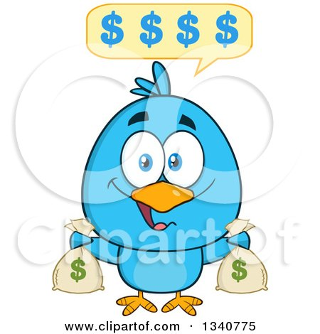 Clipart of a Cartoon Blue Bird Holding Money Bags and Talking - Royalty Free Vector Illustration by Hit Toon