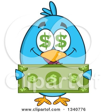 Clipart of a Cartoon Blue Bird with Dollar Symbol Eyes, Holding Cash Money - Royalty Free Vector Illustration by Hit Toon