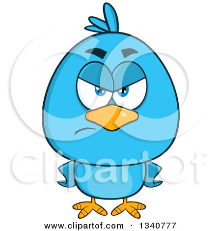 Clipart of a Cartoon Blue Bird Looking Angry, with Hands on His Hips - Royalty Free Vector Illustration by Hit Toon