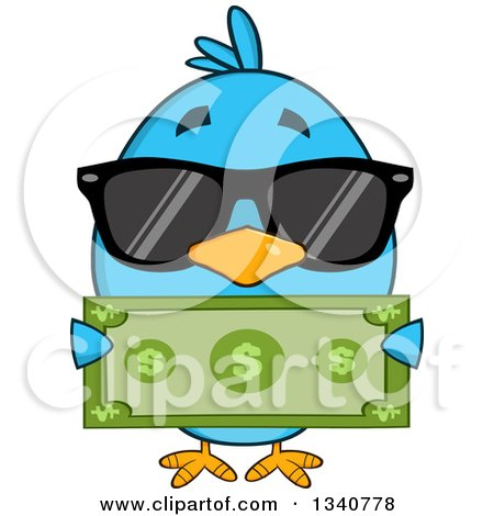 Clipart of a Cartoon Blue Bird Wearing Sunglasses and Holding a Dollar Bill - Royalty Free Vector Illustration by Hit Toon