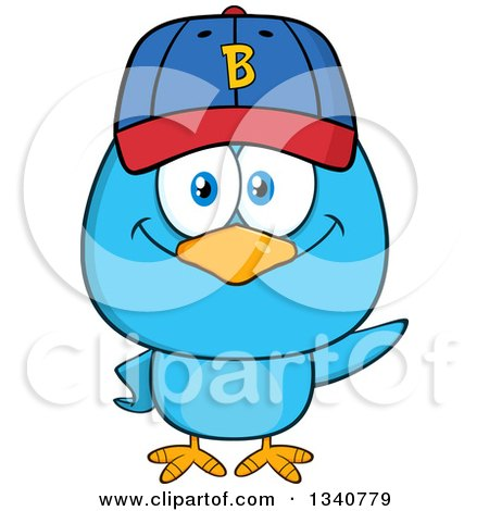 Clipart of a Cartoon Blue Bird Wearing a Baseball Cap and Waving - Royalty Free Vector Illustration by Hit Toon