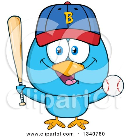 Clipart of a Cartoon Blue Bird Holding a Baseball and Bat - Royalty Free Vector Illustration by Hit Toon