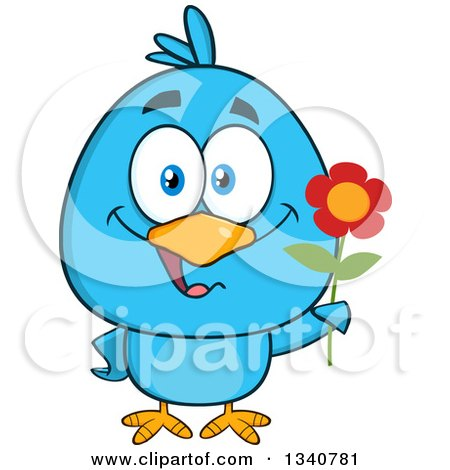 Clipart of a Cartoon Blue Bird Holding a Flower - Royalty Free Vector Illustration by Hit Toon