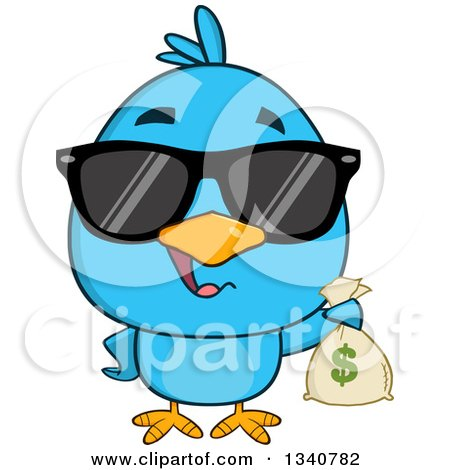 Clipart of a Cartoon Blue Bird Wearing Sunglasses and Holding a Money Bag - Royalty Free Vector Illustration by Hit Toon