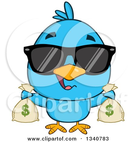 Clipart of a Cartoon Blue Bird Wearing Sunglasses and Holding Money Bags - Royalty Free Vector Illustration by Hit Toon
