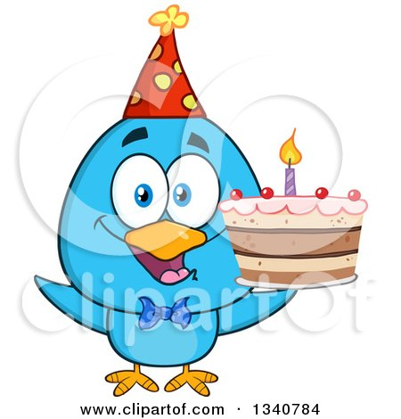 Clipart of a Cartoon Blue Bird Wearing a Party Hat and Holding a Birthday Cake - Royalty Free Vector Illustration by Hit Toon